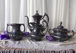 Victorian Tea Set Teapot Creamer Sugar Waste Container 1904