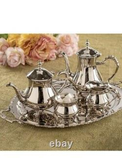 Victorian Trading NWD 5pc English Manor Silver Plate Tea & Coffee Service 12D