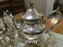 Vintage'40's Birmingham Silver Co Tea Set, 4pc Plus Tray