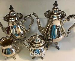 Vintage 5 Piece Wallace Baroque Silver Plated Tea Set