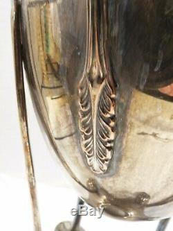 Vintage Antique Silver Plated Coffee Tea Water Dispenser Urn Footed Art Deco