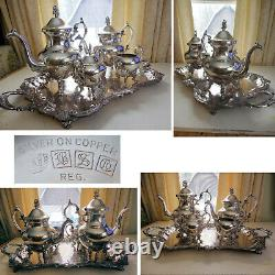 Vintage BSC Birmingham Silver Co 5 pc Silver Plate Tea & Coffee Service Set EXC