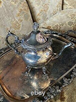 Vintage BSC Birmingham Silver Over Copper LG 7 Pcs Tea Set Grape Vine Victorian