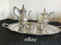 Vintage Baroque by Wallace Silver Plate Coffee and Tea Set with Large #294 Tray