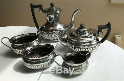 Vintage Coffee/Tea 5 pc set Sheffield Silver Plate Swirl Ribs Black Handle EBNS