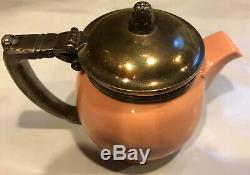 Vintage Early Century Lenox Waldorf Astoria Tea Pot Salmon Silver Plate 1930s