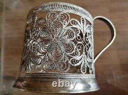 Vintage Filigree Set Six Tea Cup Holders Silver Plated Podstakannik USSR