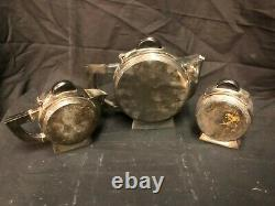 Vintage French Art Deco Inspired Silver Plate 3 Piece Tea Set