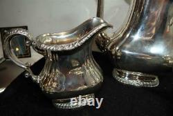 Vintage Gorham Silver Plate Shell + Gadroon 5 Piece Tea + Coffee Service Set