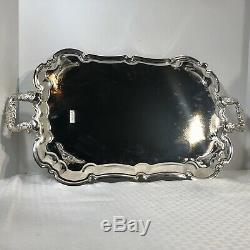 Vintage International Silver plated Serving Tea / Coffee Tray Etched Footed 24