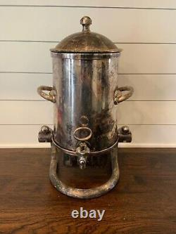 Vintage Large Silver Plate Tea Coffee Urn Hot Water Dispenser Sterno Compartment