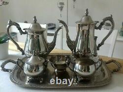 Vintage Oneida Georgian Style Silver Plated Tea Set Coffee Service 7pcs