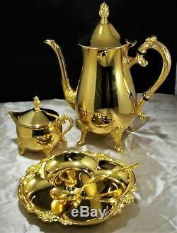 Vintage Premium International Silver Co. 23k Gold Plated Candy Dish & Tea Set