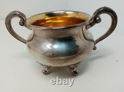 Vintage Reed & Barton Regent 5600 Silverplate 3 Piece Tea Set with Creamer + Sugar