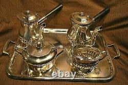 Vintage Reed & Barton U. S. Navy Silver Plate Tea Set 2 Pots Sugar Creamer Tray