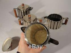 Vintage Reproduction Ilonka Karasz Tea Coffee Service Set Silverplate Modernist