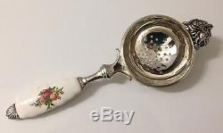 Vintage Royal Albert Old Country Roses Porcelain Silverplate Tea Strainer Rare