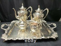 Vintage Sheridan Fancy Coffee & Tea Set with Footed Tray 5 Piece Heavy Quality