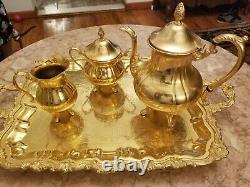 Vintage Sheridan Taunton Silversmiths Gold Electroplated Tea Set 1 Pots