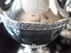 Vintage Silver Plate Tea Set Melon Finial Coffee Pot Teapot Creamer Sugar 4 Pcs