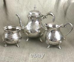 Vintage Silver Plated Tea Set Teapot Sugar Bowl Jug Ornate Harrods