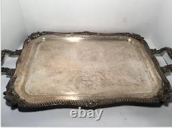 Vintage Silver on Copper Tea Service, Tray, 3 Pots, 3 Condiment Bowls, 7 Pc Set