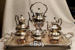 Vintage Silver on Copper Tea Service, Tray 3 Pots 3 Condiment Bowls, 7 Piece Set