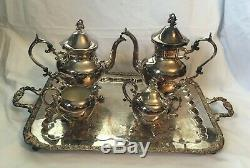 Vintage Silverplate B. S. G. Silver on Copper 5 Pc Coffee Tea Set with Large Tray