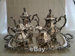 Vintage Towle Grand Duchess Coffee/Tea Set with Sugar & Creamer & Large Tray