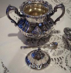 Vintage Towle Silverplate 6 Pc Coffee Tea Set El Grandee Hollowware with Tray