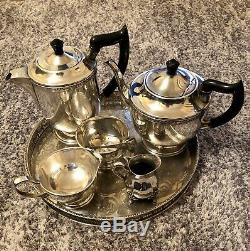 Vintage Viners Sheffield Alpha Silver Plated Tea Set With Serving Tray 7 Pieces