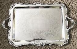 Vintage WILCOX Silver ROCHELLE Pattern Silverplate TEA SET LARGE Serving TRAY