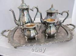 Vintage Webster Wilcox By Oneida 5 pcs. Silver Plate Coffee & Tea Service Set