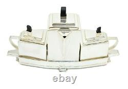 Vintage silver plated Art Deco style three piece tea set in tray by James Dixon