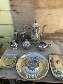 Vintage silverplate set Tea Pot Salt Pepper Plates Butter Dish Ashtray