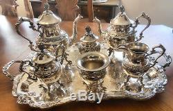 Vtg BIRMINGHAM Grapes Slv Plate OC Coffee Tea Cream Sugar Caddy Waste +Lg Tray