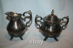 Vtg Baroque by Wallace Silverplate Coffee Tea Set Sugar Creamer 281 282 283 284