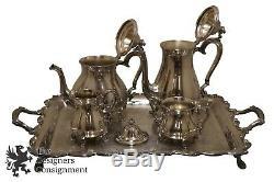 Vtg International Silver Co Chippendale Plated Tea Set Wilcox Joanne Server Tray
