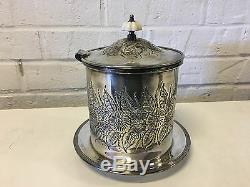 Vtg Israel Freeman & Sons Ltd Silver Plated Hand Chased Biscuit Jar / Tea Caddy