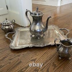 Vtg WILCOX Silver ROCHELLE Pattern Silverplate TEA SET LARGE Serving TRAY