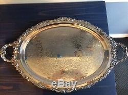 WALLACE 1941- 7 pc Silverplate BAROQUE Coffee Tea SERVICE Cream Sugar Tray Set