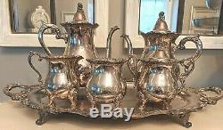 WALLACE ROYAL ROSE SILVERPLATE TEA SET Coffee Pot Teapot Sugar Cream WASTE BOWL