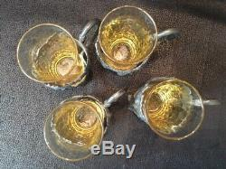 WMF 4 pcs 1903 Antique Art Nouveau Silverplate Yellow Tea Glass Cup Holder &Cups