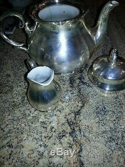 WMF German 1890s! TEA COFFEE SILVER on PORCELAIN SUGER CREAMER. Offers welcome