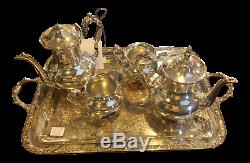 WM Rogers and Son Gold Plated Engraved Tea Set 5 Pc. Set