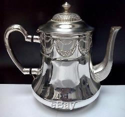 WONDERFUL ART NOUVEAU WMF Silverplate Coffee & Tea Set Floral Design MINT