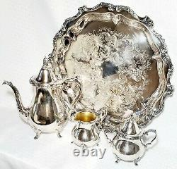 Wallace 1100 Silver plate 4-pc Tea Set Tray Engraved 1955 -25 Yrs of Service