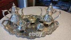 Wallace #1200 Silver Plate 6 Piece Coffee/Tea Set With Tray
