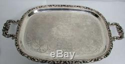Wallace Baroque Antique Plate 4 Pcs Coffee & Tea Set On Footed Crescent Tray