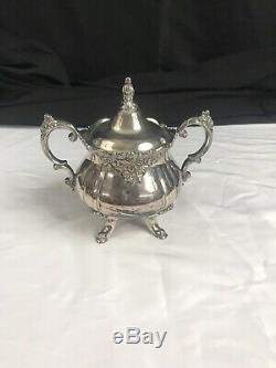 Wallace Baroque Silver Plate Tea Set 5 Piece + Tray (281-285)